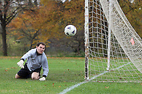 The Army & Navy FC goalkeeper watches the ball go past the post during a Hackney & Leyton Sunday League match at Hackney Marshes - 16/11/08 - MANDATORY CREDIT: Gavin Ellis/TGSPHOTO - Self billing applies where appropriate - Tel: 0845 094 6026