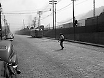 Pittsburgh PA - Location photography for Railway Express; accident site on Liberty Avenue and 22nd Street in the Strip District near the Railway Express offices.  Railway Express was a door-to-door package delivery company in Pittsburgh, similar to UPS and FedEx Ground.
