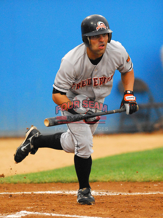 25 June 2007: Pete Maestrales of the Frederick Keys, Class A affiliate of the Baltimore Orioles, vs. the Potomac Nationals, a Washington Nationals affiliate, at Pfitzner Stadium, Woodbridge, Va.  Photo by:  Tom Priddy/Four Seam Images