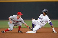 Salvador Sanchez #40 of the Winston-Salem Dash beats the tag of Daniel Lyons #10 of the Potomac Nationals as he slides in with a double at Wake Forest Baseball Stadium May 8, 2009 in Winston-Salem, North Carolina. (Photo by Brian Westerholt / Four Seam Images)