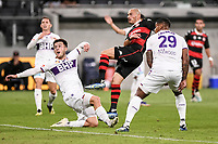19th March 2021; Bankwest Stadium, Parramatta, New South Wales, Australia; A League Football, Western Sydney Wanderers versus Perth Glory; Luke Bodnar and Darryl Lachman of Perth Glory watch as the shot from James Troisi of Western Sydney Wanderers goes over the bar