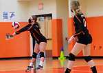 PLYMOUTH, CT-111020JS12 —Terryville Alexa Harnish (3) settles the ball while teammate Emily Ieronimo (0) looks on during their match against Wolcott Tech Tuesday at Terryville High School. <br /> Jim Shannon Republican-American