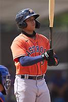 Houston Astros J.C. Correa (57) bats during a Minor League Spring Training game against the New York Mets on April 27, 2021 at FITTEAM Ballpark of the Palm Beaches in Palm Beach, Fla.  (Mike Janes/Four Seam Images)