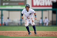 Detroit Tigers Eliezer Alfonzo (53) leads off during a Florida Instructional League game against the Pittsburgh Pirates on October 16, 2020 at Joker Marchant Stadium in Lakeland, Florida.  (Mike Janes/Four Seam Images)