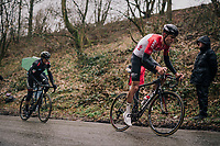 Tiesj Benoot (BEL/Lotto-Soudal) attacking up the Trieu with Greg Van Avermaet (BEL/BMC) trying to catch his wheel<br /> <br /> 73rd Dwars Door Vlaanderen 2018 (1.UWT)<br /> Roeselare - Waregem (BEL): 180km