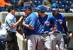 Iowa Cubs Manager Marty Pevey argues with the umpire after Albert Almora, center, was called out of the batter's box during a game against the Reno Aces at Greater Nevada Field in Reno, Nev., on Tuesday, May 17, 2016. <br />Photo by Cathleen Allison