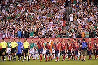 Players enter the field for pre-game introductions. The men's national teams of the United States (USA) and Mexico (MEX) played to a 1-1 tie during an international friendly at Lincoln Financial Field in Philadelphia, PA, on August 10, 2011.