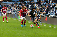 SAINT PAUL, MN - MAY 15: Hassani Dotson #31 of Minnesota United FC during a game between FC Dallas and Minnesota United FC at Allianz Field on May 15, 2021 in Saint Paul, Minnesota.