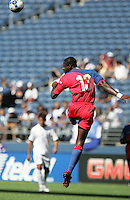 Pierre Richard Bruny heads the ball. Honduras defeated Haiti 1-0 during the First Round of the 2009 CONCACAF Gold Cup at Qwest Field in Seattle, Washington on July 4, 2009.