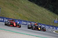 July 4th 2021; Red Bull Ring, Spielberg, Austria; F1 Grand Prix of Austria, race day;  16 LECLERC Charles (mco), Scuderia Ferrari SF21 with 11 PEREZ Sergio (mex), Red Bull Racing Honda RB16B