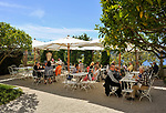 Frankreich, Provence-Alpes-Côte d'Azur, Halbinsel Cap Ferrat: Café im Garten der Villa Ephrussi de Rothschild, auch bekannt als Villa Ile-de-France zwischen Villefranche-sur-Mer und Beaulieu-sur-Mer | France, Provence-Alpes-Côte d'Azur, peninsula Cap Ferrat: café at Villa Ephrussi de Rothschild, also known as Villa Ile-de-France  between Villefranche-sur-Mer and Beaulieu-sur-Mer