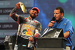 HOT SPRINGS, AR - AUGUST 12: Cabela's/Bass Pro Shops pro James Niggemeyer weighing in his fish from day three of the FLW Forrest Wood Cup on Lake Ouachita in Hot Springs, Arkansas. (Photo by Justin Manning/Eclipse Sportswire/Getty Images)