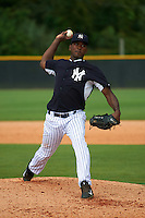 GCL Yankees 1 pitcher Luis Rosario (86) delivers a pitch during a game against the GCL Yankees 2 on July 29, 2015 at the Yankee Minor League Complex in Tampa, Florida.  The game was suspended after two innings due to rain.  (Mike Janes/Four Seam Images)