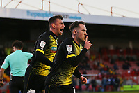 Josh Kay (R) of Barrow AFC scores the first goal for his team form a rebound after his penalty and celebrates during Crawley Town vs Barrow, Sky Bet EFL League 2 Football at Broadfield Stadium on 12th December 2020