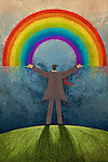 Illustrative image of businessman with arms raised standing against rainbow representing success
