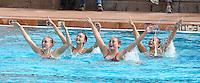 Stanford, CA; Saturday February 11, 2012: Synchronized Swimming, Stanford vs Incarnate Word.<br /> Stanford Team Routine: Alex Bollaidlaw, Kimko Urata, Anna Boyle, Leigh Haldeman.