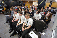 Pictured: Wednesday 25 November 2015<br /> Re: Schools take part in this year's Premier League Enterprise vent at Penderyn Suite, Liberty Stadium, Swansea, UK