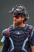 Columbus Clippers catcher Eric Haase (13) during a game against the Gwinnett Stripers on May 17, 2018 at Huntington Park in Columbus, Ohio.  Gwinnett defeated Columbus 6-0.  (Mike Janes/Four Seam Images)
