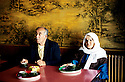 France 1990.Rached et Fatiha, couple d'immigrants kurdes irakiens, au cafe de Mainsat.France 1990.Rached and Fatiha, Kurdish Iraqi immigrants , in the cafe of Mainsat