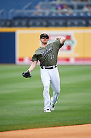 Nashville Sounds right fielder Chris Parmelee (25) warms up before a game against the New Orleans Baby Cakes on April 30, 2017 at First Tennessee Park in Nashville, Tennessee.  The game was postponed due to inclement weather in the fourth inning.  (Mike Janes/Four Seam Images)