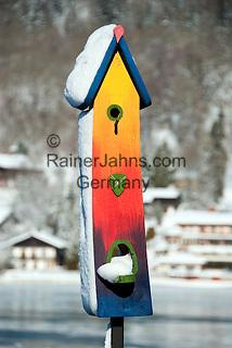 Germany, Bavaria, Upper Bavaria, Tegernseer Valley, Winter at Lake Tegern: unfamiliar, artistic birdhouse