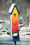 Germany, Bavaria, Upper Bavaria, Tegernseer Valley, Winter at Lake Tegern: unfamiliar, artistic birdhouse