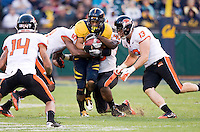November 12th, 2011:  Isi Sofele of California fights for more yardage during a game against Oregon State at AT&T Park in San Francisco, Ca  -  California defeated Oregon State 23 - 6