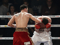 Steven (bang bang) Butler (red shorts) defeat Sladjan Janjanin (white shorts) and become IBF Junior World Champion, March 12, 2016.<br /> <br /> Photo : Pierre Roussel - Agence Quebec Presse