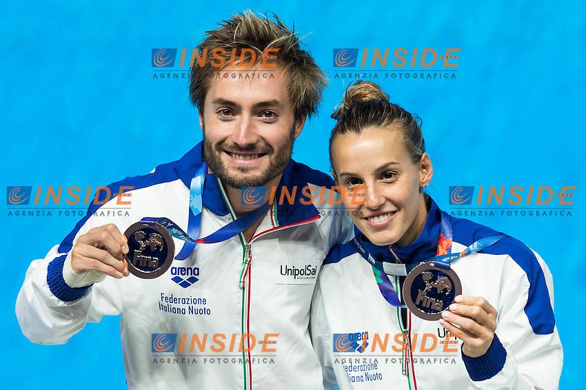 CAGNOTTO Tania and VERZOTTO Maicol ITA bronze medal<br /> Diving - Mixed 3m Synchro springboard<br /> Day 10 02/08/2015<br /> XVI FINA World Championships Aquatics Swimming<br /> Kazan Tatarstan RUS July 24 - Aug. 9 2015 <br /> Photo Giorgio Perottino/Deepbluemedia/Insidefoto
