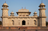 """Agra, India.  Itimad-ud-Dawlah, Mausoleum of Mirza Ghiyas Beg, in mid-Afternoon.  The tomb is sometimes referred to as the """"Baby Taj."""""""