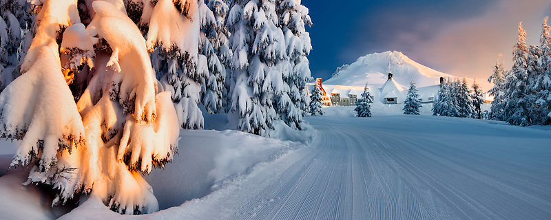 Timberline Lodge and Mt. Hood with ski run after heavy new snow. Oregon