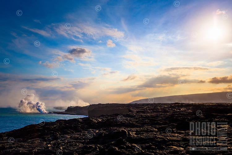 The Kamokuna Lava Flow entry point into the sea, seen from Kalapana, Hawai'i Island.