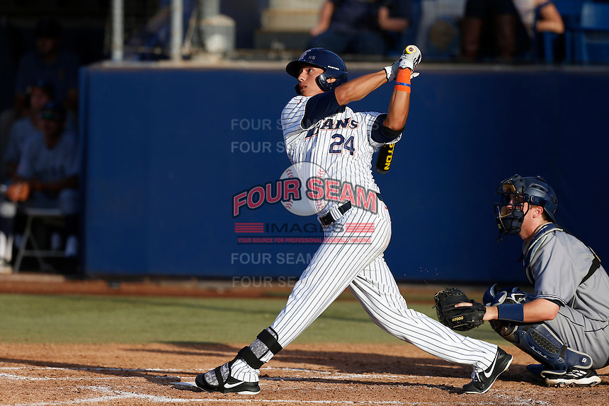 Greg Velazquez #24 of the Cal State Fullerton Titans bats against the UC Irvine Anteaters at Goodwin Field on May 18, 2013 in Fullerton, California. Fullerton defeated UC Irvine, 3-2. (Larry Goren/Four Seam Images)