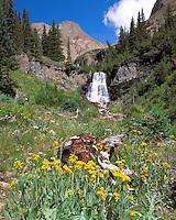 Kilpacker Falls high in Kilpacker Basin below El Diente Peak, near Telluride, Colorado