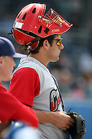 August 25 2008:  Catcher Scott Thomas of the Williamsport Crosscutters, Class-A affiliate of the Philadelphia Phillies, during a game at Dwyer Stadium in Batavia, NY.  Photo by:  Mike Janes/Four Seam Images
