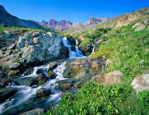 Waterfall in American Basin, San Juan Mountains, Colorado, .  John leads wildflower photo tours into American Basin and throughout Colorado. All-year long.