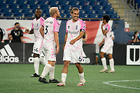 """FOXBOROUGH, MA - SEPTEMBER 04: Adolfo """"Fito"""" Ovalle #5 Forward Madison FC celebrates his goal during a game between Forward Madison FC and New England Revolution II at Gillette Stadium on September 04, 2020 in Foxborough, Massachusetts."""