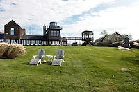 vintage deck chairs in the garden