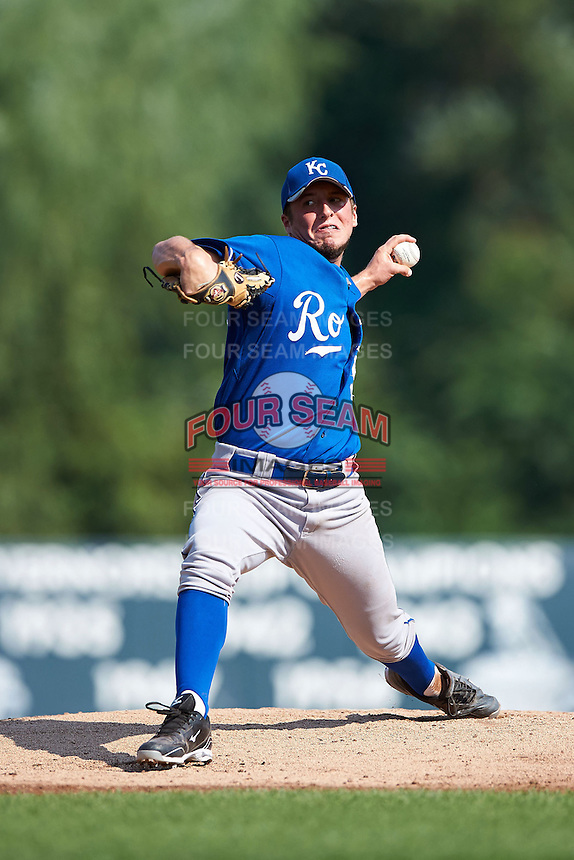 Evan Hebert #50 of Loreauville High School in Loreauville, Louisiana playing for the Kansas City Royals scout team during the East Coast Pro Showcase at Alliance Bank Stadium on August 4, 2012 in Syracuse, New York.  (Mike Janes/Four Seam Images)