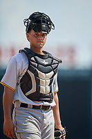 Pittsburgh Pirates catcher Yoel Gonzalez (25) during an Instructional League game against the Baltimore Orioles on September 27, 2017 at Ed Smith Stadium in Sarasota, Florida.  (Mike Janes/Four Seam Images)