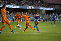 SAN JOSE, CA - JULY 24: Luciano Abecasis #2 during a game between Houston Dynamo and San Jose Earthquakes at PayPal Stadium on July 24, 2021 in San Jose, California.