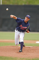 Pitcher Asher Demme of the Danville Braves, Appalachian League affiliate of the Atlanta Braves, pitches in a game against the Princeton Devil Rays on August 17, 2005, at Dan Daniel Park, Danville, Va. (Tom Priddy/Four Seam Images)