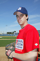 February 10 2008: Brian Busick participates in a MLB pre draft workout for high school players at the Urban Youth Academy in Compton,CA.  Photo by Larry Goren/Four Seam Images