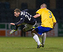 Dundee's Martin Boyle is taken out late by Cowdenbeath's Kenny Adamson.