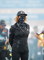 Sep 14, 2019; Mohnton, PA, USA; Kay Torrence wife of NHRA top fuel driver Billy Torrence during qualifying for the Reading Nationals at Maple Grove Raceway. Mandatory Credit: Mark J. Rebilas-USA TODAY Sports
