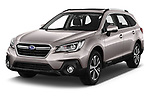 2019 Subaru Outback Premium 5 Door Wagon Angular Front stock photos of front three quarter view