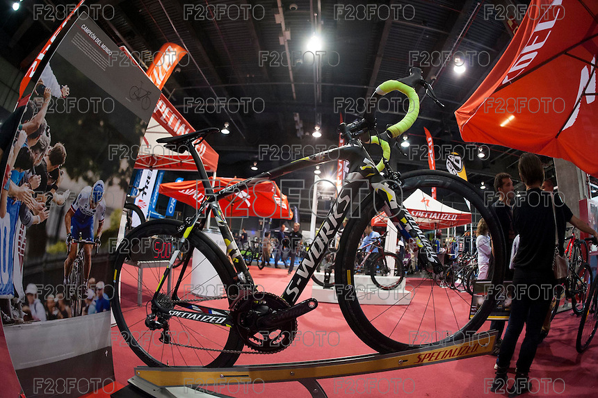 VALENCIA, SPAIN - NOVEMBER 7: Specialized stand during DOS RODES at Feria Valencia on November 7, 2015 in Valencia, Spain