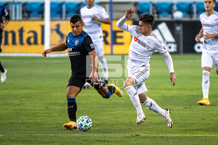 SAN JOSE, CA - NOVEMBER 04: Nick Lima #24 of the San Jose Earthquakes is chased by Tristan Blackmon #27 of the Los Angeles FC during a game between Los Angeles FC and San Jose Earthquakes at Earthquakes Stadium on November 04, 2020 in San Jose, California.