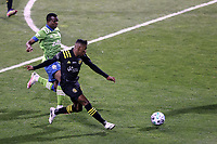 COLUMBUS, OH - DECEMBER 12: Luis Diaz #12 of the Columbus Crew passes the ball during a game between Seattle Sounders FC and Columbus Crew at MAPFRE Stadium on December 12, 2020 in Columbus, Ohio.