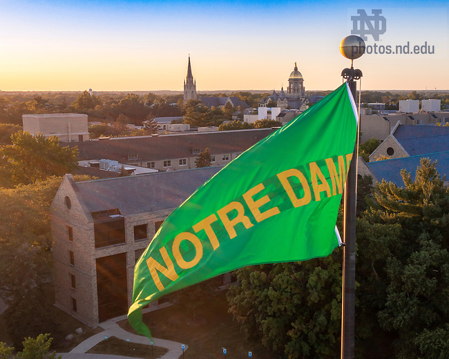 September 15, 2021; Green Notre Dame pennant over the north end of Notre Dame Stadium (Photo by Matt Cashore/University of Notre Dame)